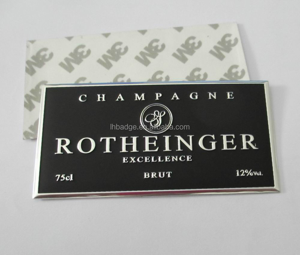 en aluminium pli tiquette autocollant courbe champagne bouteille tiquette courbe tiquettes. Black Bedroom Furniture Sets. Home Design Ideas