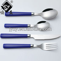 Wholesale Stainless Steel Plastic Blue Handle Flatware