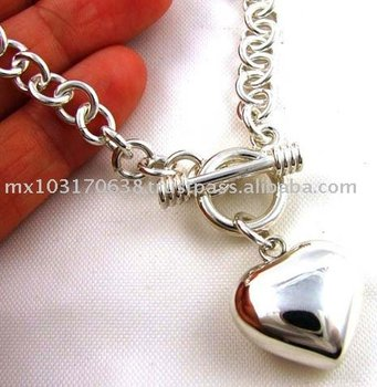 Sterling 925 Silver Puffy Heart Charm Necklace