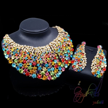 Fashion multicolor jewellery set, crystal jewelry set, colorful necklace jewellery set