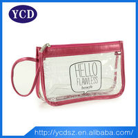 Cute clear pvc material zipper quilted cosmetic bag red