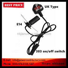 13A fuse BS salt lamp power cord with E14 Lampholder