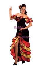 RUMBA Salsa Ladies Spanish Mexican Flemenco Fancy Dress Costume carnival costumes for women