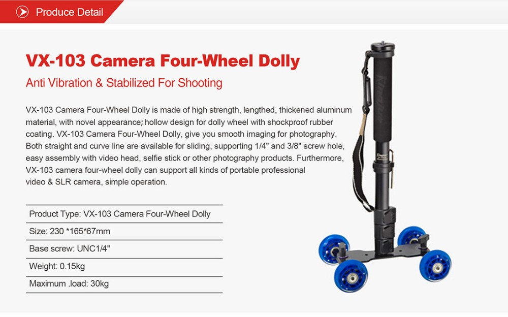 Kingjoy VX-103 flexible four-wheel DSLR camera dolly for photography