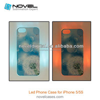 New DIY Sublimation LED Mobile Phone Case for iPhone 5/5S, 2d LED Cell phone case for 5S