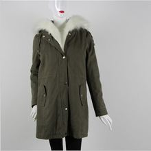 Newest selling beautiful showy white brim long winter ladies coat
