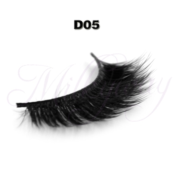 2015 Hot selling transparent brand 3D silk style strip eyelash synthetic fiber eyelash with private label