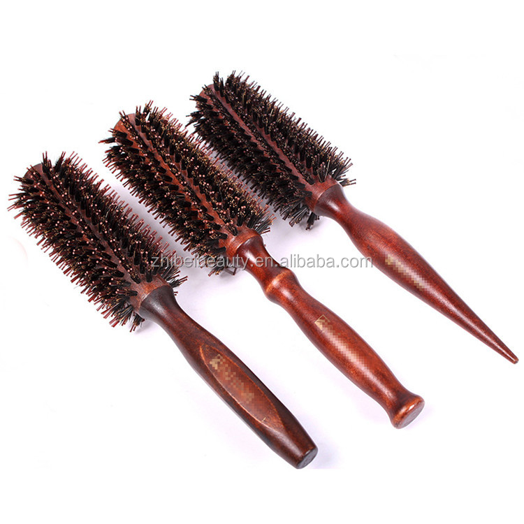 Wooden Classic Round Hair Brush Natural Boar Bristles