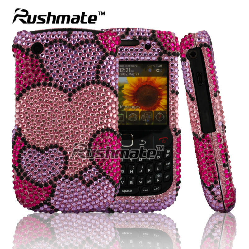 Wholesale Heart Shape Design Cellphone Accessories For Blackberry 8520 Fancy Diamond Case