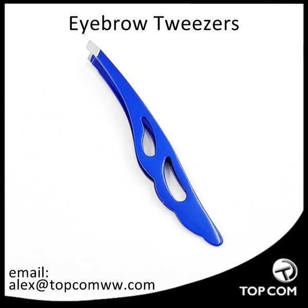 Blue Tweezers with Slanted Tips for Accurate Eyebrow or Facial Hair Plucking