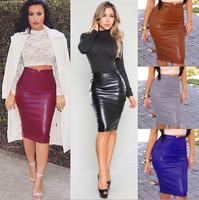 Womens Fashion PU Leather Knee Pencil Bodycon skirt