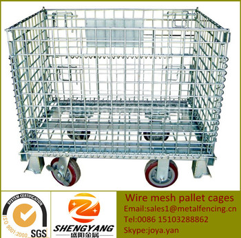 Collapsible containers outdoor used visuality strong stillage cages large rectangular 1000x800x840mm wire mesh pallet cages