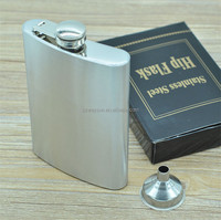 Men Gift Portable Stainless Steel Plastic Liquor Hip Flask 8oz With Funnel Silver Tone