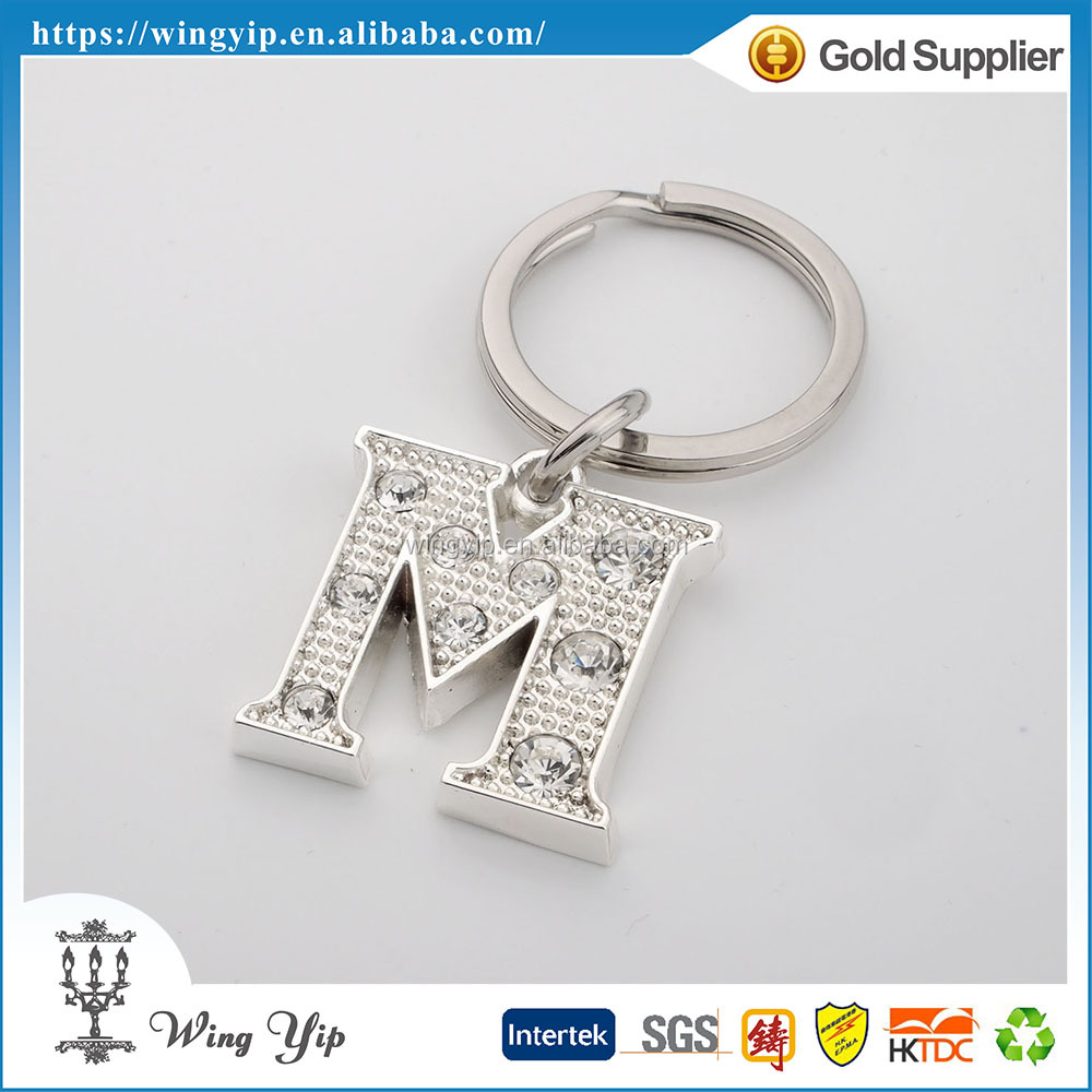 OEM and ODM good quality Letter M Bright Zinc alloy Promotion Keychain metal
