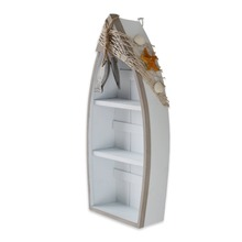Beach Theme Display wood Boat with 3 Shelves with Fish Net