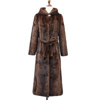 High Quality Fashion Ladies Beaver Fur Coat With Mink Fur Sleeve Natural Genuine Fur
