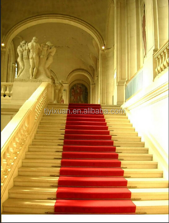 Outdoor nonwoven red stair runner carpet buy red stair for Woven carpet for stairs