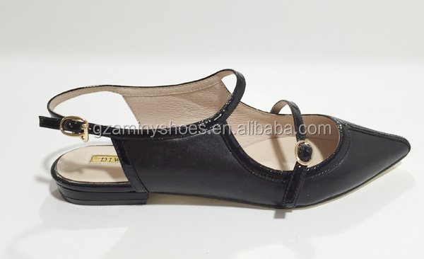 China ladies quality leather comfortable fancy women flat shoes