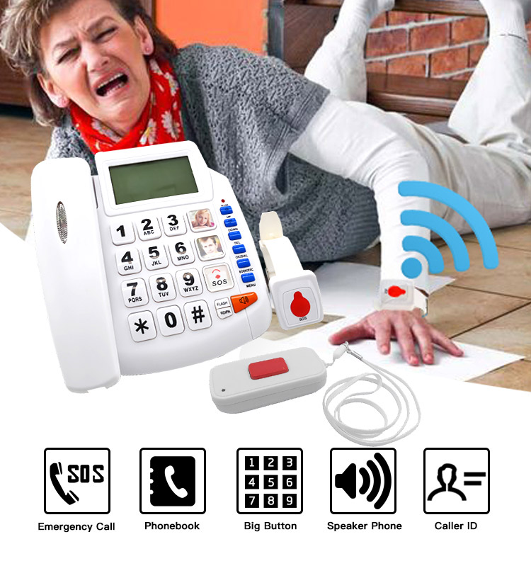 New Arrival emergency call SOS telephone GSM auto dialer phone alarm system save 6 numbers