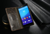 For Sony Z4,CaseMe Luxury Magnetic Leather Wallet Stand Case For Sony Z4, Flip Cover With Card Slots Phone Bags PCM-003-15