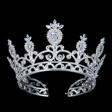 Echsio Bridal Wedding Tiara Marquise Cut Cubic Zirconia White Gold Plated Miss World Show Women Crown BC3108