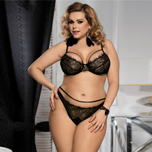 Plus Size Ladies Lace Bra Set Hot Sexy Transparent Nightwear for Honeymoon