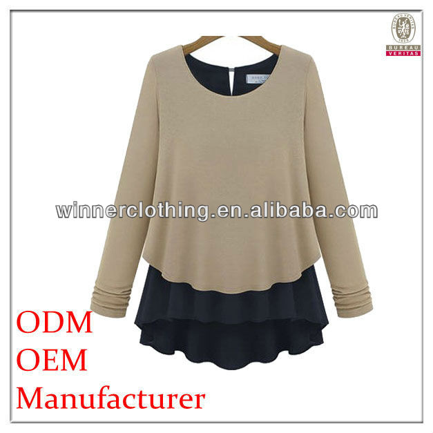 fine qualtiy long sleeve fashion new trend t-shirts with flared buttom