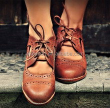 Wholesale Custom Personalized Brown Leather Women Boots Brogues