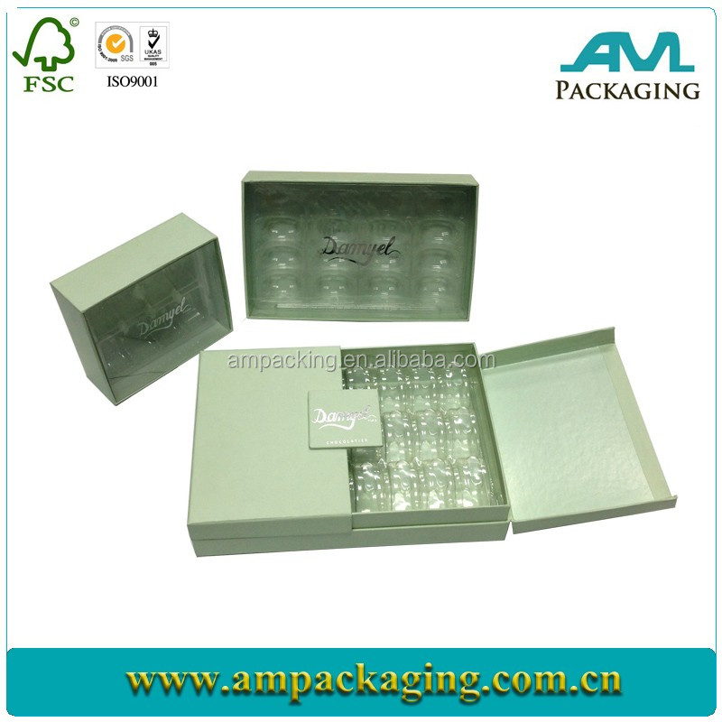 wholesale luxury printing door gift cardboard truffle custom box packaging with transparent tray