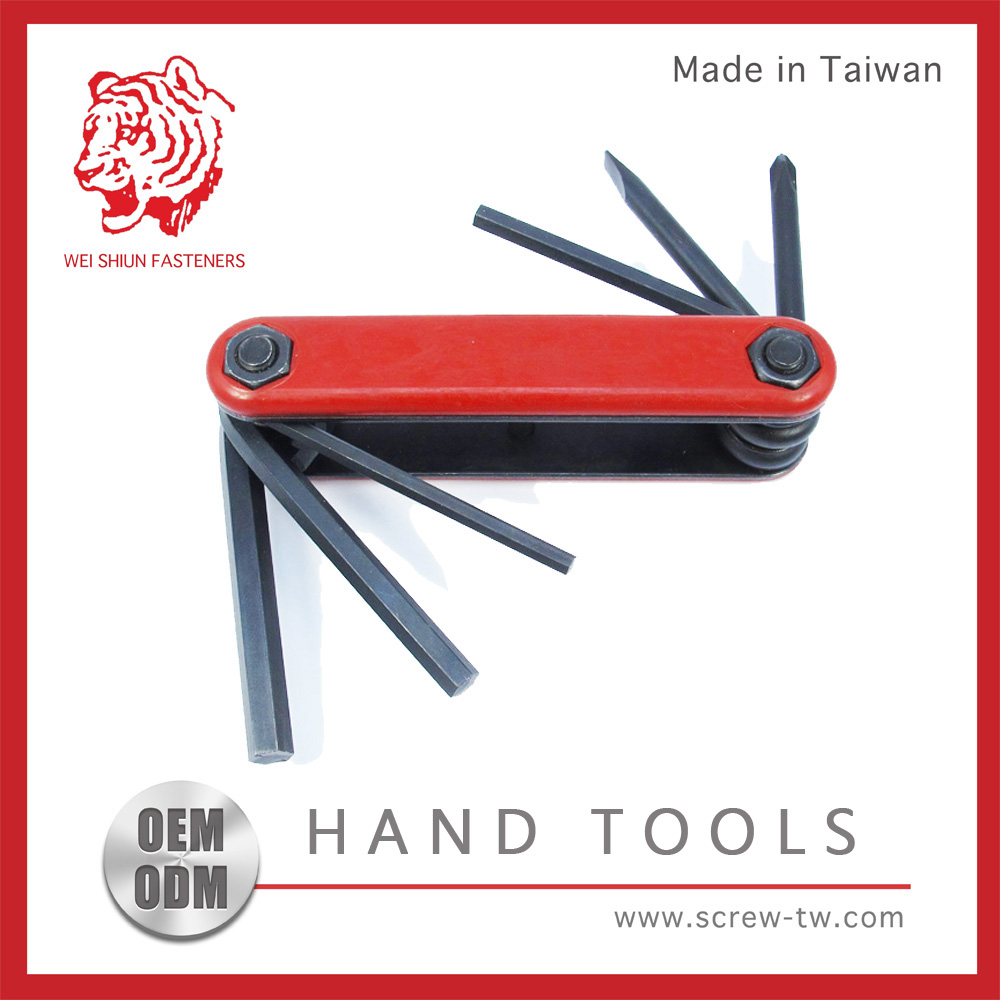 Taiwan Hand Tool Phillips/Slotted/Hex Foldable Wrench Set T Handle Allen Key Set