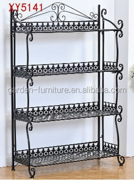 XY5141 home space saving organizer 4 tier wrought iron shoe rack, Yes Folding morden style standing metal shoes shelf