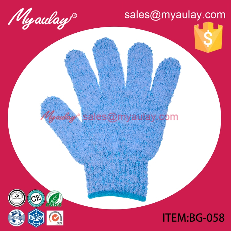 BG-058 Printing Nylon body massage shower glove scrub dead skin removal exfoliator