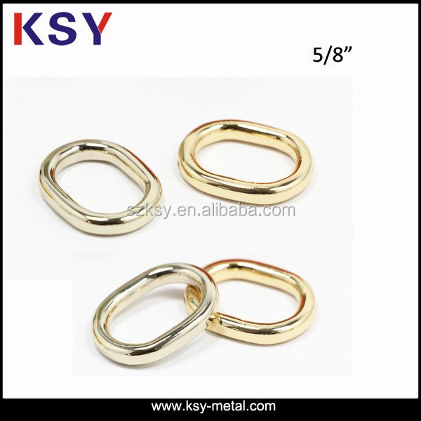 Nickel free Zinc alloy gold metal ring for bag