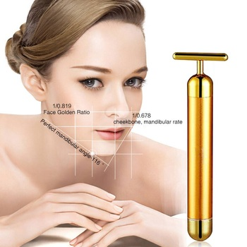 Face Slimming Face Lift Skin Tightening 24k Gold Beauty Bar Vibration Facial Massage Roller for Women