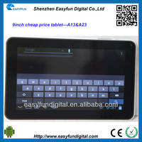Cheap price 9 inch Allwinner A13 android tablet pc,angel tablet pc, China mainland manufacturer