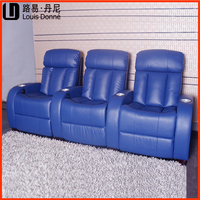 Hot selling luxury design cinema navy blue chair with power, Shenzhen China factory directlyhometheatre for home furniture