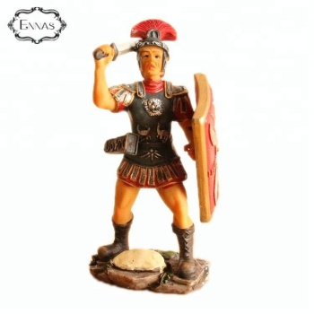Roman custom size resin warrior statue with shield and spear