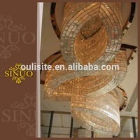 Hanging bright light crystal chandeliers commercial stainless steel body led pendant lighting for hotel