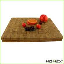 Small End Grain Bamboo Cutting Board Professional, Antibacterial Butcher Block Non-Slip Rubber Feet