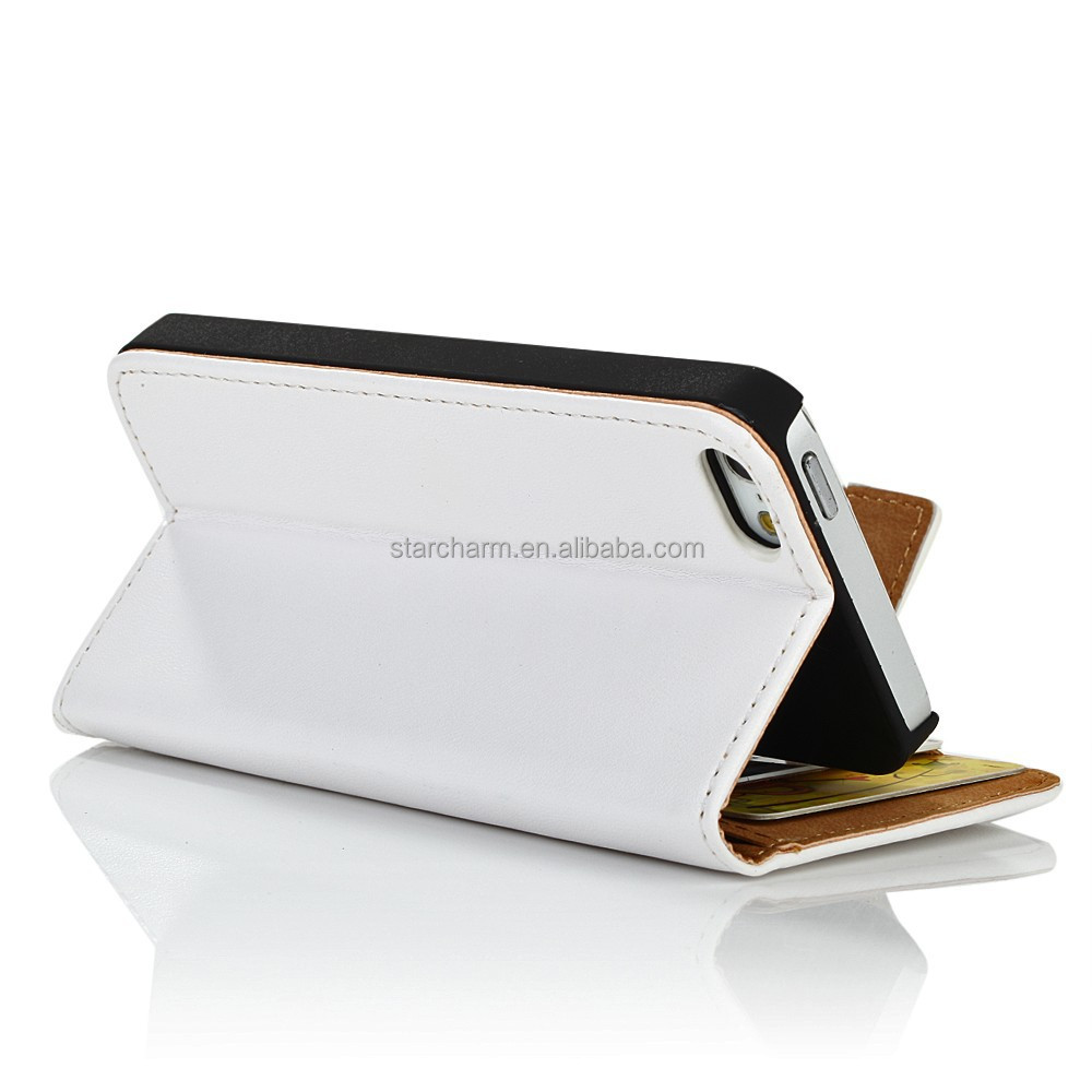 Hot Selling Genuine Leather wallet Case for iPhone 5 5s, for iphone 5 mobile phone case