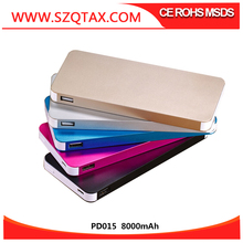 New products 2016 innovative product slim Lithium 8000mAh Aluminum USB power bank with 5V IA output