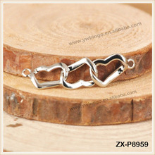 Brass Twisted Heart Ring Bracelet Link Chain Connector For Jewelry