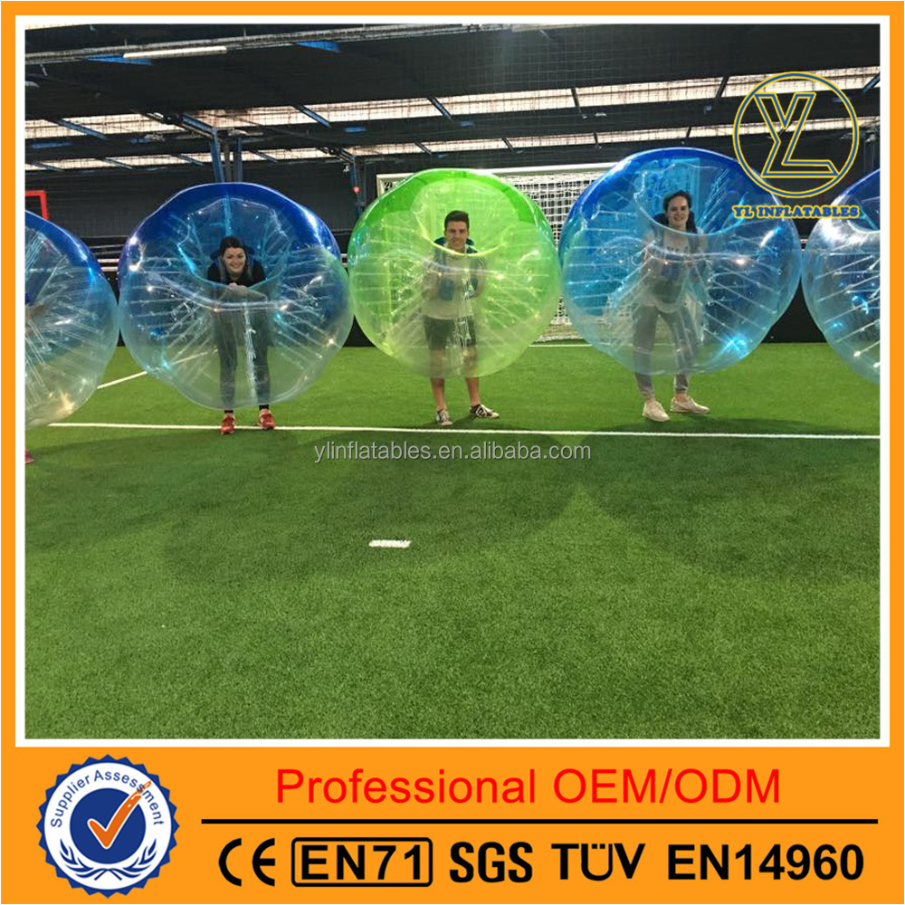 Half clear half color blue inflatable human sized sumo bumper bubble ball hamster ball