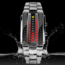 Stainless steel chain black color led wrist watch lighter band