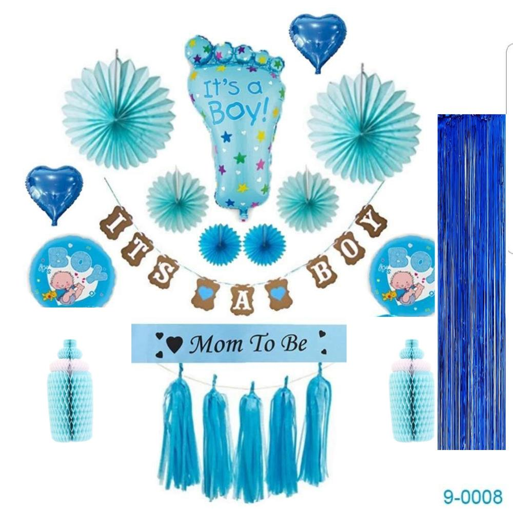 Baby Shower <strong>Decorations</strong> for a Boy Set Its a boy Banner foil Balloons Mommy to Be Sash honey comball party <strong>decorations</strong> supplies