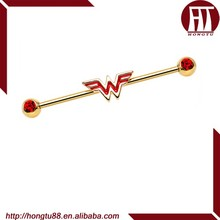 HT Red Gem Gold Plated Wonder Woman Logo Industrial Barbell Earring Body Piercing Jewelry