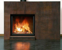 custom outdoor corten steel fireplace