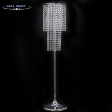 New Fashion 150 CM 2 Layer Chrome Round Crystal Table Top Chandelier Flower Stand Holder For Wedding Walkway Decoration