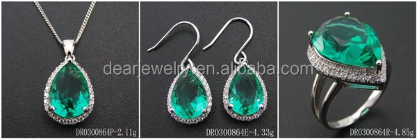 Green Spinel Stone Synthetic Spinel Jewelry Sets DR01407257S-G