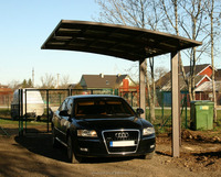 aluminium frame car port with solid polycarbonate panels